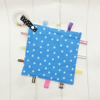 F31-handmade 2 in 1 handbell label appease towel can be used as pacifier chain Japanese double yarn X2 times = 4 layers