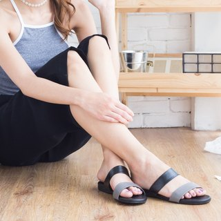 Sandal Black Gray Two tone Comfort Rubber Sole Shoe