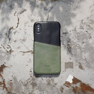 iPhone X two-tone leather phone case - black / olive green / can be inserted /