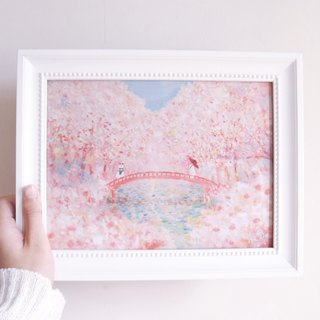 A4 Japanese Bunny Sakura Illustration Copy Painting Picture Frame