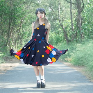 Black Fall Color Leaf Sleeveless Vintage Dress