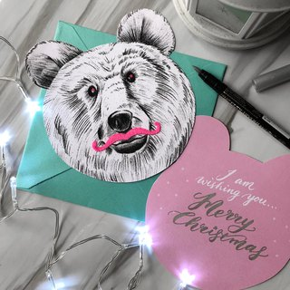 adc | Animal Party | English Calligraphy | Universal | Christmas | Greeting | Bear