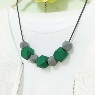 Grey green wooden bead necklace Grey & Green Wood Beads Necklace (N1604)