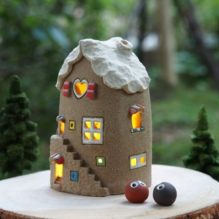 [Lighthouse] Lighthouse House - Lovely Home/Ceramic Lighted House/Wood Accessories and Handmade Tree - Owl/Order Order