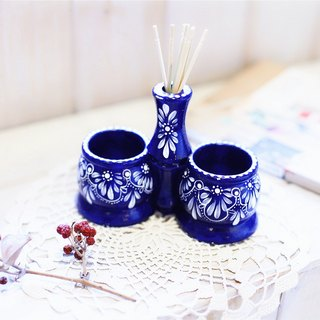 【Good day fetus】 Dutch vintage hand-painted wooden egg cup blue section