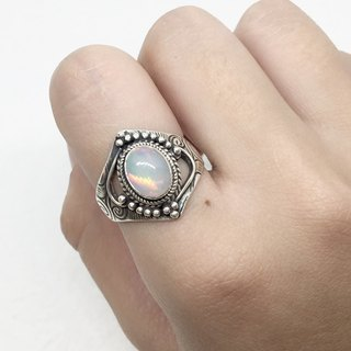 Opal 925 sterling silver folk style ring Nepal handmade mosaic production