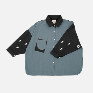 Comma dot punctuation print splicing shirt - gray blue / black stitching