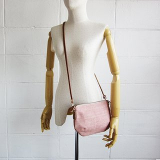 Cross-body Bags Mini Curve Hand woven and Botanical Dyed Hemp Pink Color