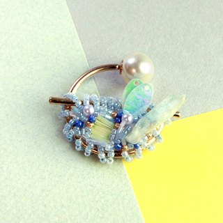 Planet - Lime. Day blue spar small brooch