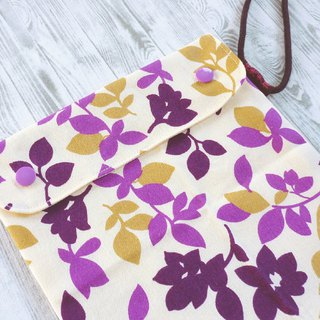 Purple flower leaf silhouette double buckle cover bag can be raised environmentally friendly food bag