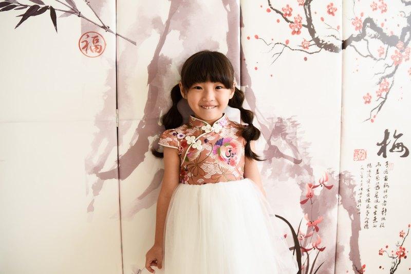兒童旗袍禮服 日式粉鶴款