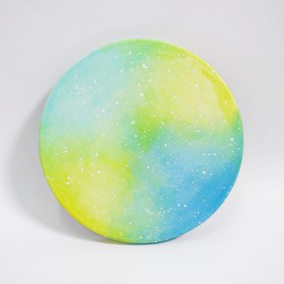 Starry hand-painted coasters / blue green yellow