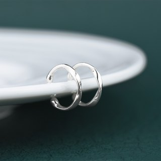Line change - twist (ear bone clip 925 sterling silver clip earrings) ::C% handmade jewelry::