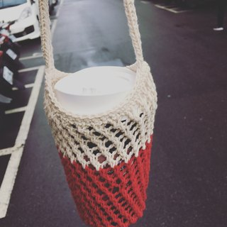 Mesh woven kettle bag beverage bag red and white