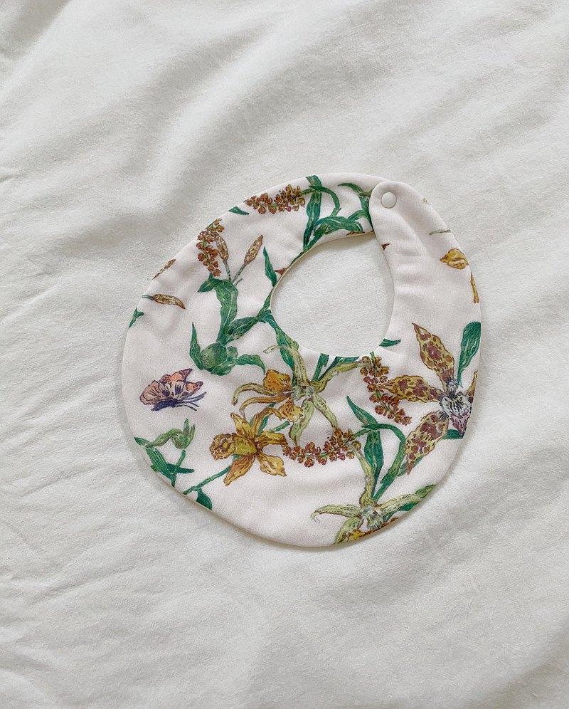 手工八重紗  暖冬蘭與蝴蝶 寶寶圍兜/口水巾 32X13cm 彌月禮盒