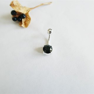 Round Belly ring Black Sterling Silver
