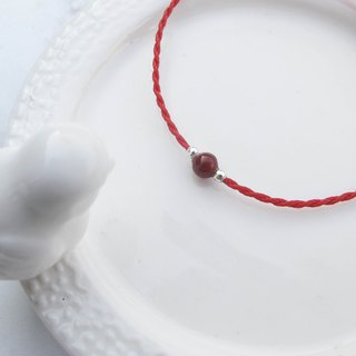 Big staff Taipa [manual silver] red agate × natural stone very fine wax rope bracelet marriage lucky