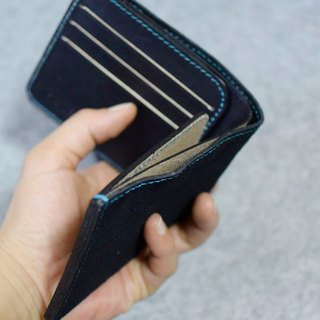 YOURS leather personality short clip Wallet 6 card +2 L folder black suede + gray blue leather