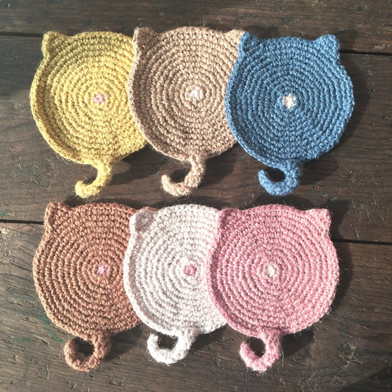 Get back the initial impression of a knitted cat back coaster five-piece family group optional color
