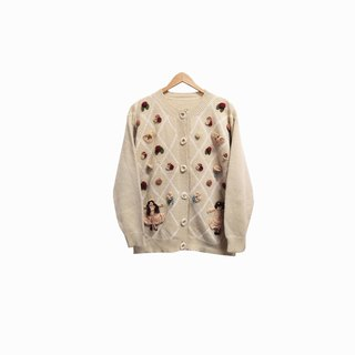 Dislocation vintage / three-dimensional flower knitted cardigan sweater no.278 vintage