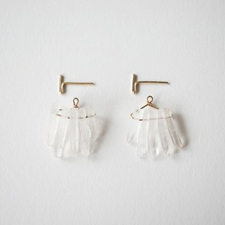 Crystal quartz fringe pierce 14kgf fringe earrings