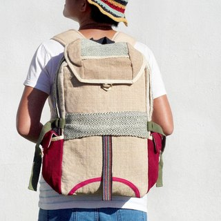 Christmas gift limited to a cotton and linen stitching design after the backpack / shoulder bag / national mountaineering bag - grass green pink national backpack