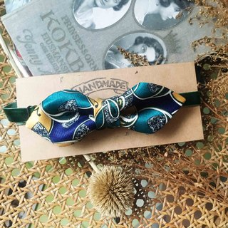 Marriage Graduation Gift - Antique Cloth Tie Tie Handmade Bow Tie - Amoeba Blue Green - Wide Edition