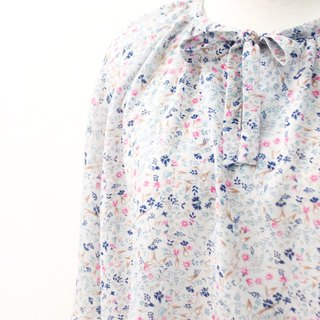 Retro Japanese pastoral style floral gray purple short-sleeved vintage shirt Vintage Blouse