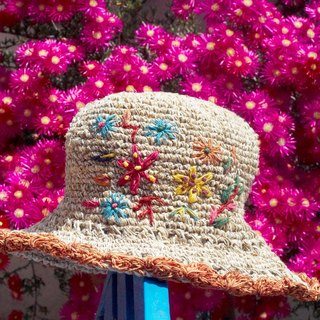 Valentine's Day gift limited handmade knitted cotton / hat / fisherman hat / sun hat / straw hat / straw hat - Boho rainbow embroidery flowers forest wind (mixed color orange)