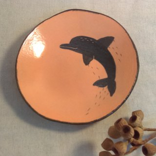 The spot will be sent immediately!!DoDo hand whisper. Animal silhouette series - Dolphin medium dish (powder orange)