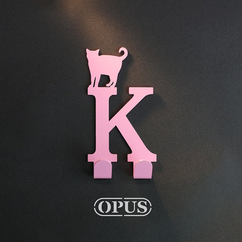 When the cat meets the letter K - hanging hook (pink) / wall ornaments hook / furniture rack / living storage / racks / modeling hook / no trace / girlfriend birthday gift HO-ca10-K (P )