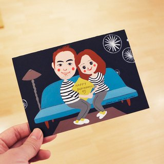 British style unique Wenqing style customized portrait -2 lovers like Yan painted birthday / Valentine's Day / wedding / Christmas / universal / teacher's day / engagement / marriage proposal / Mi Yue hand-painted cards