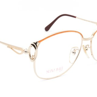 1980's LANCEL 珐琅 orange eyebrow gold frame big eye antique glasses