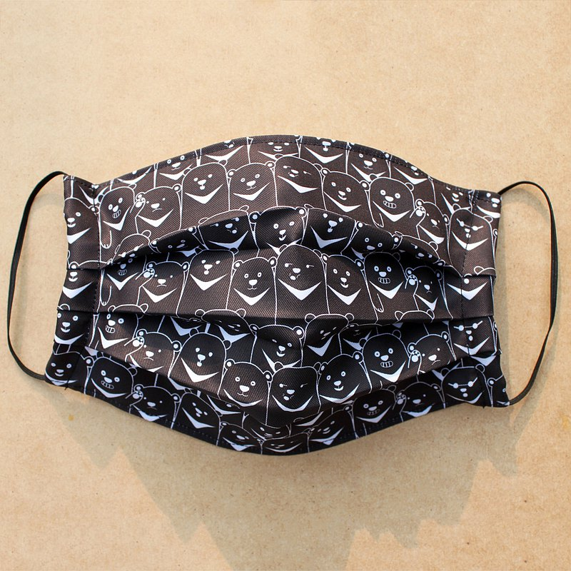 黑熊口罩套 - 可換濾材三折立體布口罩
