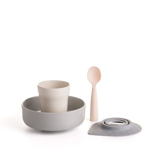 Miniware natural baby children learning tableware snack time group - sesame + peach
