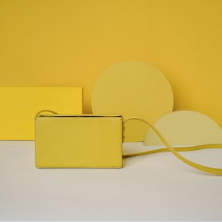 TREBLE Z 2018 summer new original design leather box-shaped shoulder Messenger bag small square bag yellow