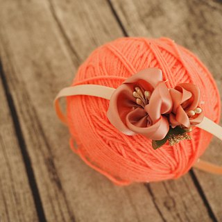 Elegant Handmade baby headband with Pink ribbon flower