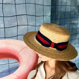 STRAW BOATER HAT / Navy red