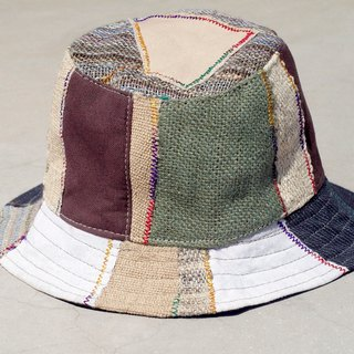 Limited one ethnic mosaic of hand-woven cotton cap / hat / visor / hat Patchwork - Japanese national wind splicing