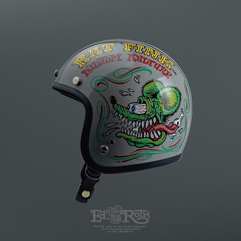Gallop X Rat Fink mouse Fink joint limited helmet narrow version small cap body gray