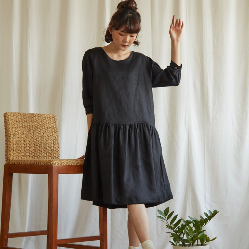 Linen Midi Dress in Black Colour