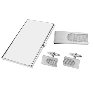 Brushed Silver and Polished Apex Cufflinks Money Clip and Card Holder Sets