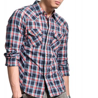 50 mercerized combed dark blue / light blue / orange plaid mixing wood buckle long-sleeved shirt