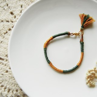 *coucoubird*friendship lucky rope tassel bracelet / yellow-green section