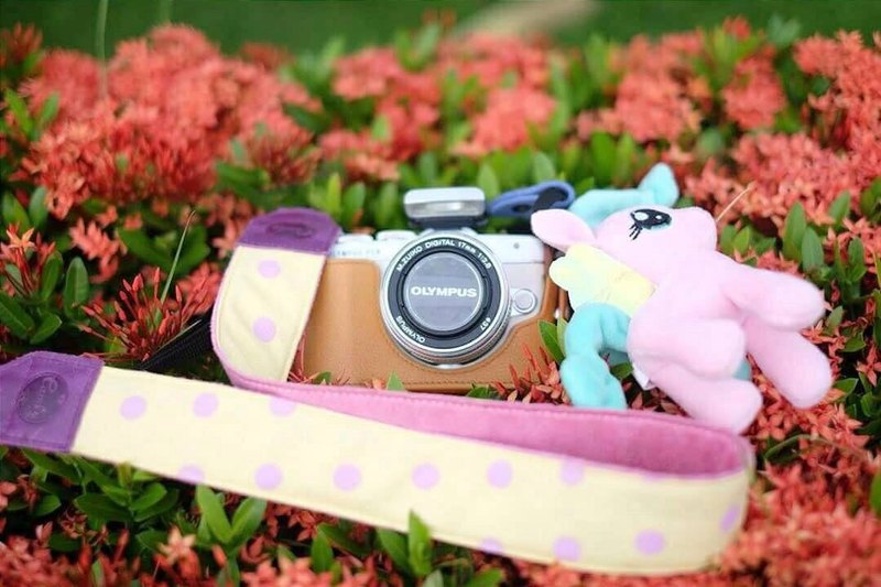 Yellow Purple Polkadot Mirrorless or DSLR Camera Strap
