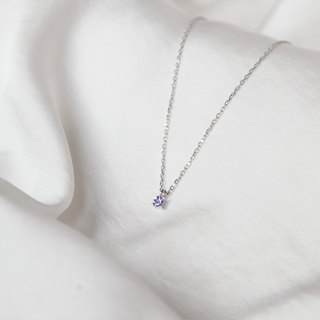 Danquan stone single diamond sterling silver chain (December birthstone)