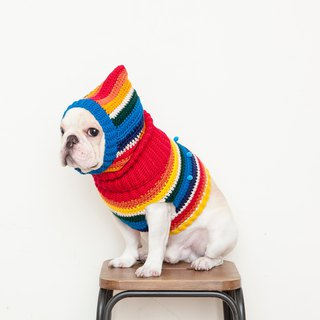 Ghostly ball turtleneck sweater + warm headdress - retro rainbow