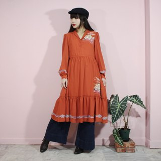 [Vintage dress] (Made in Japan) Orange unique sailboat pattern cloth flower design long-sleeved Japanese vintage dress