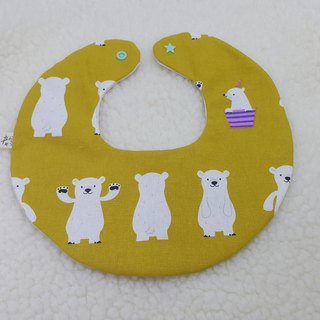 Waving polar bear full pocket / baby bibs / bibs