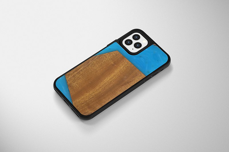 iPhone 8/X/11/12 手機殼 原木 Epoxy - 原木方塊藍